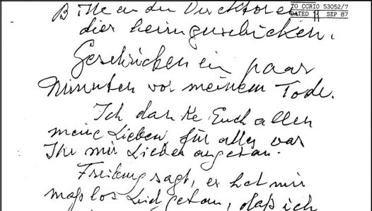 Предсмертная записка Рудольфа Гесса. Копия из материалов расследования смерти.