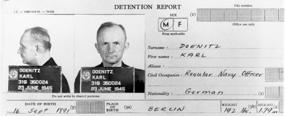 Учетная карточка военнопленного, Карл Дёниц. 1945 г.